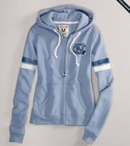 美国代购AmericanEagle鹰 女士浅蓝拼色拉链开衫卫衣外套带帽秋冬 价格:499.00