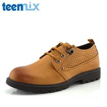 正品包邮2012秋季新款天美意/Teenmix/男鞋圆头系带男鞋真皮鞋 价格:469.00