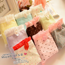 5件包邮外贸韩版可爱字母/小花/点点格子蝴蝶结蕾丝女士内裤低腰 价格:3.50