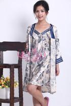 飞勇正品女士春夏长袖睡衣家居服100真丝桑蚕丝睡袍丝绸浴袍8102 价格:350.00