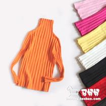 儿童高领打底衫弹力紧身衫男童女童中大童打底毛衣厚黑白色可亲子 价格:18.00