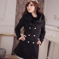 冬装新款韩版优雅美姿奢华皮草毛毛领蝴碟结修身毛呢大衣呢子外套 价格:112.00
