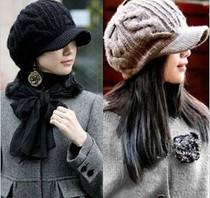 包邮韩版女时尚毛线棒球帽子 女 秋冬保暖帽冬季帽男女士针织帽 价格:36.00
