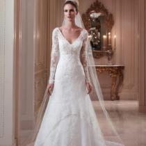 新款2013欧美宫廷收腰鱼尾婚纱V领小拖尾长袖蕾丝婚纱 不一样的淘 价格:802.80
