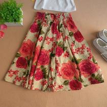 爆款 大特价实拍民族风玫瑰印花圆摆半身亚麻蓬蓬裙 短裙  758PW 价格:25.00