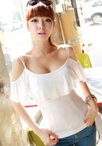 2013夏装新品韩国代购款现货荷叶边性感修身吊带短袖t恤显瘦WT081 价格:30.00