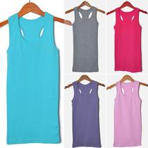 绒美服饰 韩版女装 打底衫 工字 吊带 背心 女长款纯棉无袖t恤 价格:9.80
