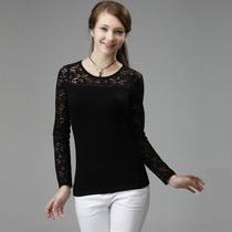 蕾丝莫代尔圆领打底衫长袖T恤女修身显瘦爱买正品2012秋新款1225 价格:24.00
