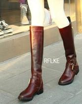 欧美范外贸原单高档打蜡牛皮真皮女子长筒靴平底靴骑士靴子马丁靴 价格:499.00