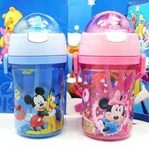 包邮 专柜正品迪士尼米菲儿童水壶水杯 软吸管背带透明盖学生水壶 价格:28.00
