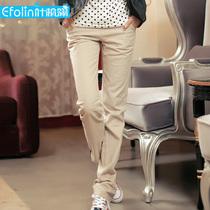 叶枫翎  2012春装款 女 纯棉直筒休闲长裤 极致2色 YG68 价格:19.04