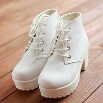 2013春秋韩版单鞋女鞋子系带松糕粗跟高跟小白鞋圆头爆款特价秒杀 价格:27.80
