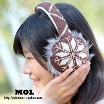 韩国进口 Haute 甜美雪花菱形金线装饰毛线质感 耳罩护耳保暖耳套 价格:60.00