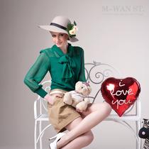 M-WAN ST.2013秋装新款WEEKEND 雪纺拼接蝴蝶结  纯羊毛针织衫 价格:268.00