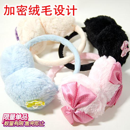 蝴蝶结耳罩 毛绒绒保暖耳罩 韩国秋冬版耳暖 护耳套 耳包 耳捂 价格:5.50