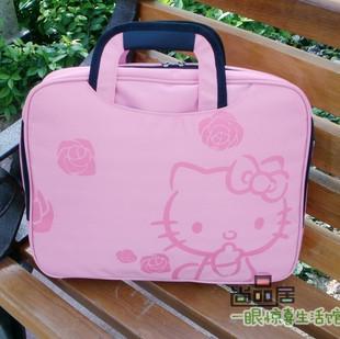 新款可爱10寸14寸15.6寸手提kitty电脑包卡通笔记本包女式粉色 价格:35.00