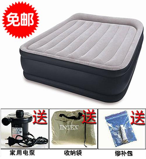 包邮送电泵 美国INTEX豪华内置枕头双人加大充气床垫 双层气垫床 价格:255.00