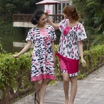 特价 姬玛采棉岛专柜正品 夏款女士梭织棉短袖睡衣家居服套装7447 价格:78.00