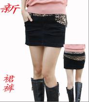2013秋装新款韩版女装豹纹拼接拉链弹力修身牛仔裙裤包臀短裙半身 价格:55.00