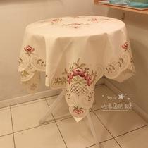 外贸欧式贡缎镂空刺绣布艺电视盖布茶几布小圆桌布台布餐桌布 价格:36.00