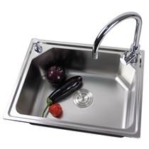 居逸不锈钢水槽 GE3003803 单槽(5件套餐) (水槽 龙头 皂液器 价格:499.00