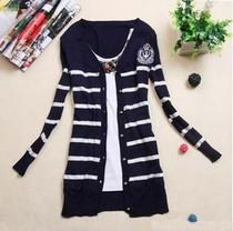 新款春秋女装韩版甜美长袖针织衫开衫条纹海魂女士修身学生外套 价格:30.00