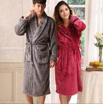 包邮秋冬男士女士珊瑚绒法兰绒睡袍加厚保暖情侣睡袍浴袍 价格:99.00