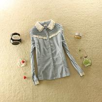 13春秋季新款日系甜美女装外贸全棉牛仔款淑女短袖蕾丝边衬衫衬衣 价格:69.00