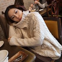现货韩国代购正品2013秋装新韩版宽松高领侧开叉针织衫毛衣外套女 价格:142.50