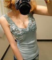 新款韩版蕾丝亮片花边木耳边V领螺纹棉性感修身小背心女吊带背心 价格:24.00