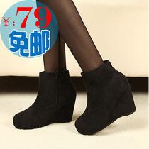 韩版坡跟短靴 高跟防水台厚底裸靴 绒面女靴子 秋冬季靴子 及踝靴 价格:79.00