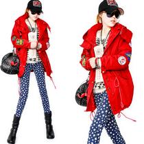 欧洲站2013秋新款��帽机长风衣女加厚夹棉大红色棉衣外套C4805 价格:299.70