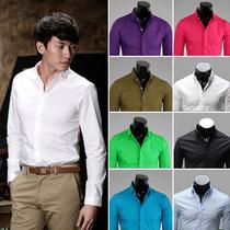 春天男装衣服小方领军绿色修身潮流英伦韩版寸衣寸衫衬衫衬衣长袖 价格:55.00