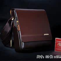 袋鼠专柜正品2013新款单肩包斜跨包牛皮背包包休闲真皮男包nanbao 价格:218.00