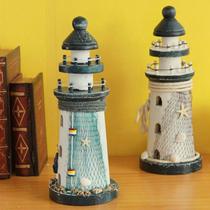 地中海 海洋装饰品 原木 鱼网 船长 海星 工艺摆设灯塔 2款入 价格:28.00