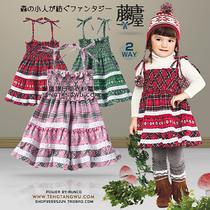 原单 skipland 2010 秋冬款 童装 纯棉起绒 格子 吊带 连衣裙 价格:39.00