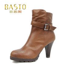 百思图专柜正品代购 2012冬季新款厚底高跟矮靴子 短靴TSC44D 价格:668.00