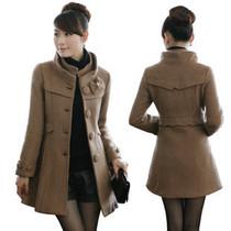 2012秋冬新款羊毛呢外套女装中长款修身韩版立领毛呢大衣冬装呢子 价格:150.00