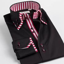 深海 男装 衬衣 个性双扣领纯色商务休闲长袖衬衫 价格:239.00