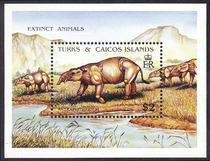 特克斯和凯科斯群岛1991,已灭绝动物小型张,轮齿兽CV$8.5 MNH! 价格:32.00
