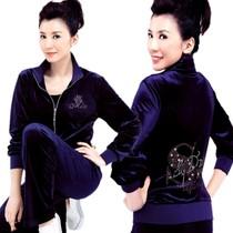高档2013春装新款中老年中年妈妈装女修身金丝绒运动服时尚套装 价格:205.90
