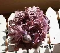 新款出口 日本 北川景子 蕾丝花瓣 珍珠 头花 发圈 价格:9.00