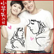 简单爱系列 手工绘画 韩国版夏装新款 纯棉短袖T恤情侣装 2件包邮 价格:67.00