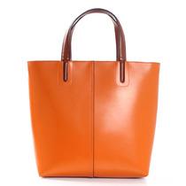 橙色手提包包2013秋季新款百搭通勤牛皮购物包简约时尚大包棕色黑 价格:245.00