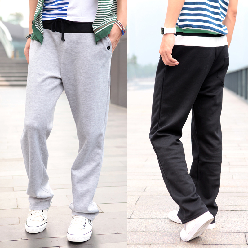 2012 autumn and winter waist hit color 2 buckle casual fashion men's sports pants korean version of casual pants men pants