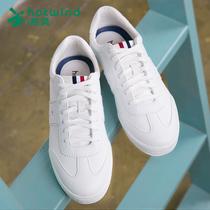 热风皮面韩版学生系带平底白鞋