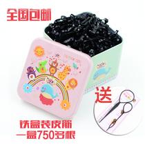 马口铁盒装黑色彩色发圈马尾头绳小女孩儿童扎头发橡皮筋发饰品