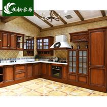 柏松家居橱柜定做整体红橡木橱柜定制欧式实木厨房装修厨柜石英石
