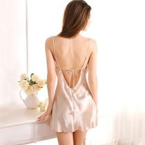 情调衣人香槟色丝绸性感蕾丝夏季睡裙