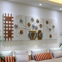 客厅装饰画三联无框画沙发背景墙壁画卧室餐厅艺术挂画立体浮雕画